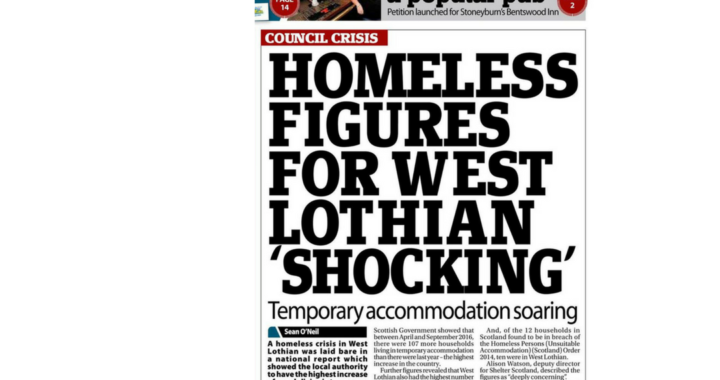 Homeless Figures for west Lothian SHOCKING
